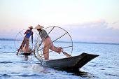 INLE LAKE, MYANMAR DECEMBER 12, 2013: Fishermen at Inle Lake, Shan State, Myanmar Intha people posse