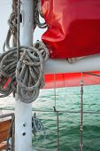 Ropes On Classic Sailboat