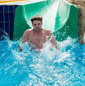 Man having good fun at waterslides