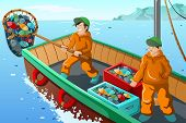 Commercial Fisherman Fishing