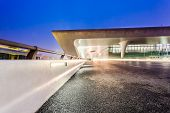 light traces on traffic at Hangzhou rail station