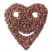 Sight 'Heart' with face from Coffee beans