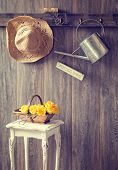 The potting shed with hanging straw hat and garden tools - vintage tone effect added