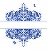 Blue vintage floral heading. Raster copy