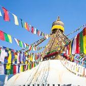 Bodhnath Stupa in Kathmandu with Buddha Eyes