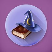 foto of warlock  - Wizard hat and old book - JPG