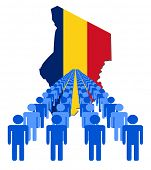picture of chad  - Lines of people with Chad map flag vector illustration - JPG