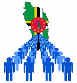 Lines of people with Dominica map flag vector illustration
