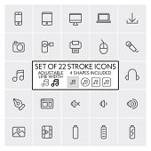 Stroke design icons set 5 / Computer + mobile + music + etc. / Adjustable line width + 4 button shap