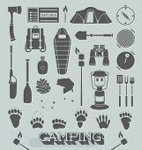 stock photo of paddling  - Collection of outdoor and camping objects and graphics - JPG