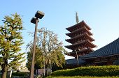 Five-storey Pagoda At Sensoji Temple In Tokyo, Japan