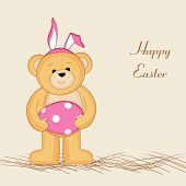 Happy Easter card design with cute teddy bear wearing bunny ears, holding decorated egg in pink and white color on brown background.