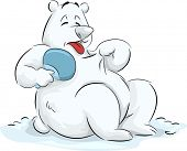 Illustration of a Fluffy Polar Bear Trying to Cool Itself Down