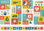 Flat Medical Infographics Elements plus Icon Set. Vector.