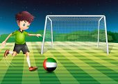 Illustration of a male athlete kicking the ball with the flag of the United Arab Emirates