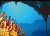 Illustration of a beautiful view of the coral reefs under the sea on a white background