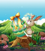 Illustration of a bunny and a big Easter egg above the stump