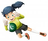 Illustration of a soccer player from Pakistan on a white background