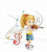 Illustration of a young musician on a white background