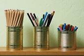 Upcycling, Writing Accessories In Tin Can
