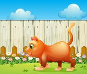 Illustration of a fat cat at the backyard