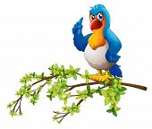 Illustration of a parrot above the branch of a tree on a white background