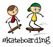 Illustration of the two boys skateboarding on a white background