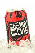 Can of Cherry Coke drink on ice