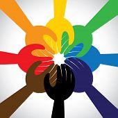 Group Of Hands Taking Pledge, Promise Or Vow - Concept Vector Icon