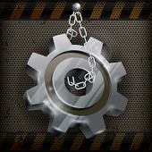 Gear With Chain On Metal