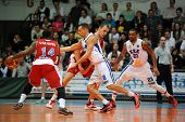 KAPOSVAR, HUNGARY - MARCH 8: Marton Fodor (white 8) in action at a Hungarian Championship basketball