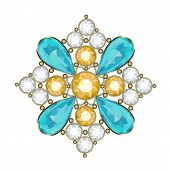 picture of brooch  - Luxury golden brooch with precious stones vector - JPG