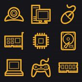 Computer web icons, gold line set