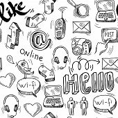 Seamless doodle social media pattern background
