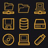 Drive storage web icons, gold line set