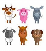 pic of wild donkey  - Wild and domestic animal cartoon characters icons set of cow donkey sheep and horse isolated vector illustration - JPG