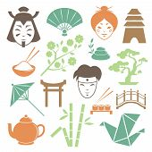 image of geisha  - Japanese culture design elements collection of samurai geisha and traditional items isolated vector illustration - JPG