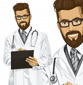 Hipster doctor man writing something with marker on clipboard