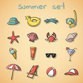 Summer vacation travel icons set
