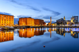 image of british culture  - Liverpool waterfront skyline with its famous buildings like Pierhead albert dock salt house ferry terminal etc - JPG