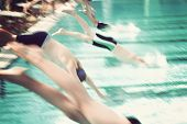 stock photo of swim meet  - Motion blur swimmers diving into a pool during a race - JPG