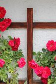 foto of sympathy  - rambler rose bush and wooden cross easter or sympathy card design - JPG