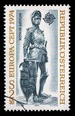 AUSTRIA - CIRCA 1974: A stamp printed in Austria, shows a bronze figure of