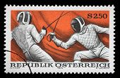 AUSTRIA - CIRCA 1974: A stamp printed in austria shows fencing, circa 1974
