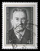 AUSTRIA - CIRCA 1974: a stamp printed in the Austria shows Franz Schmidt, Composer, Cellist and Pian