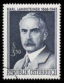 AUSTRIA - CIRCA 1968: A stamp printed in Austria showing Karl Landsteiner, circa 1968