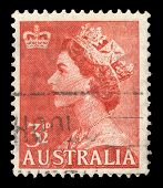AUSTRALIA - CIRCA 1953: A stamp printed in Australia shows Queen Elizabeth II, circa 1953