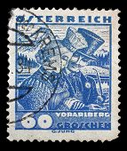 AUSTRIA - CIRCA 1932: stamp printed by Austria, shows Vorarlberg bridal couple, circa 1932
