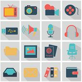 Flat modern media web icon set