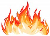 pic of flames  - Vector illustration of flames isolated on white - JPG